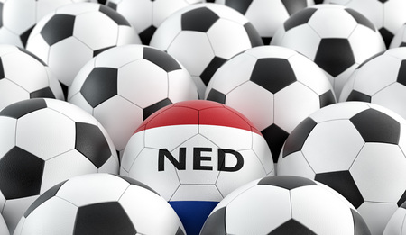Soccer ball in netherlands national colors - 3D rendering Stockfoto