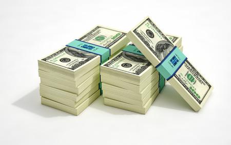 Bundles of Money - 100 Dollar Banknotes - 3D Rendering