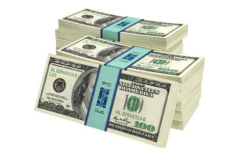 Stacks of 100 dollars banknotes - 3D rendering Stok Fotoğraf