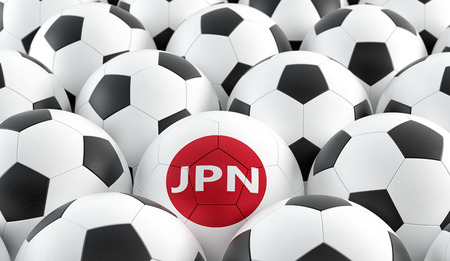 Soccer ball in Japans national colors. 3D rendering