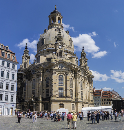 DRESDEN, GERMANY - May 21, 2018: Dresden Frauenkirche - Lutheran church in Saxony of Germany. Destroyed in 1945, reopend after 9 years of reconstruction in 2005.