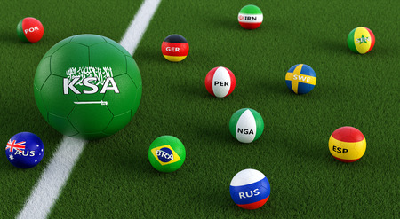 Big soccer ball in Saudi Arabian national colors surrounded by smaller soccer balls in other national colors. 3D rendering