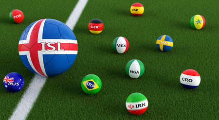 Big soccer ball in Icelands national colors surrounded by smaller football balls in other national colors. 3D rendering Banco de Imagens