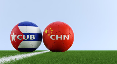 China vs. Cuba Soccer Match - Soccer balls in China and Cuba national colors on a soccer field. Copy space on the right side - 3D Rendering