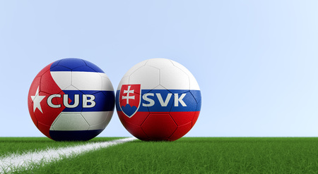 Slovakia vs. Cuba Soccer Match - Soccer balls in Slovakia and Cuba national colors on a soccer field. Copy space on the right side - 3D Rendering