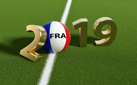 Soccer 2019 - Soccer ball in France flag design on a soccer field. Soccer ball representing the 0 in 2019. 3D Rendering Foto de archivo - 113762590