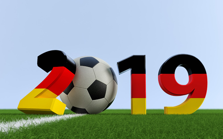 2019 in german flag colors on a soccer field. A soccer ball representing the 0 in 2019. 3D Rendering
