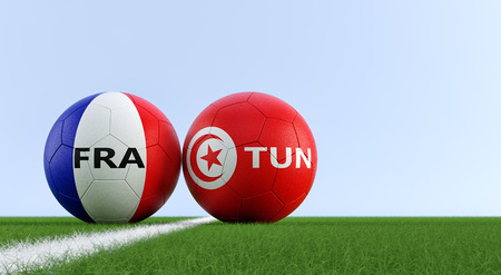 France vs. Tunisia Soccer Match - Soccer balls in France and Tunisia national colors on a soccer field. Copy space on the right side - 3D Rendering Foto de archivo - 115842246