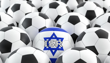 Soccer ball in Israel national colors - 3D Rendering