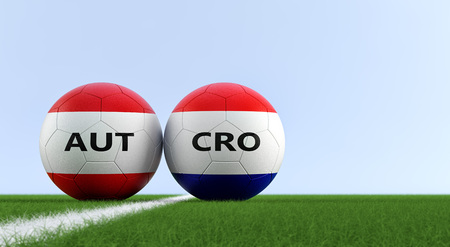 Austria vs. Croatia Soccer Match - Soccer balls in Austria and Croatia national colors on a soccer field. Copy space on the right side - 3D Rendering 写真素材