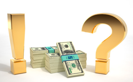 Exclamation Mark and Question Mark with 100 dollar banknotes - 3d Rendering 免版税图像