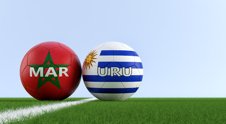 Uruguay vs. Morocco Soccer Match - Soccer balls in Uruguay and Morocco national colors on a soccer field. Copy space on the right side - 3D Rendering
