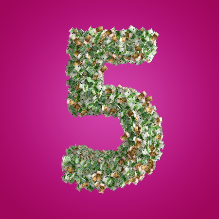 The Number 5 made from Euro banknotes - 3D Rendering