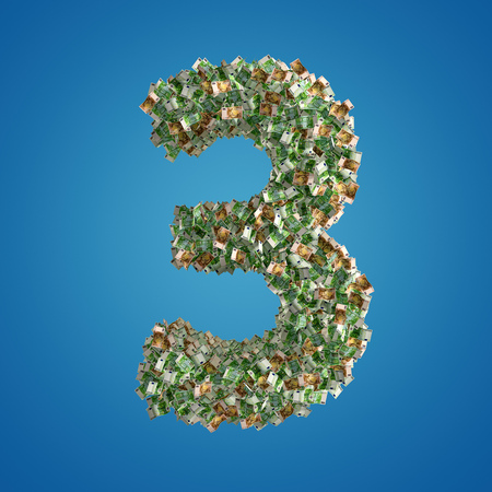 The Number 3 made from Euro banknotes - 3D Rendering Stock Photo