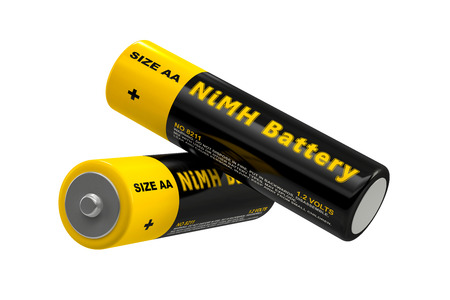 NiMH Batteries - isolated on white - 3D Rendering