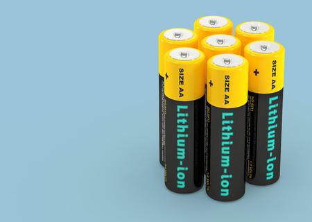 Lithium-ion Batteries - 3D Rendering 写真素材