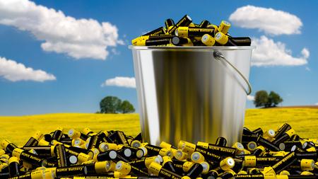 NiMH-batterijen in een emmer - 3D-rendering Stockfoto