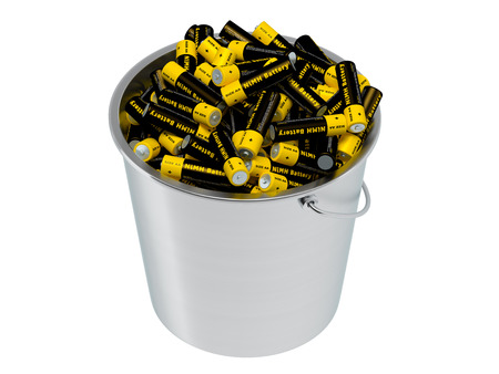 NiMH Batteries in a bucket - isolated on white - 3D Rendering
