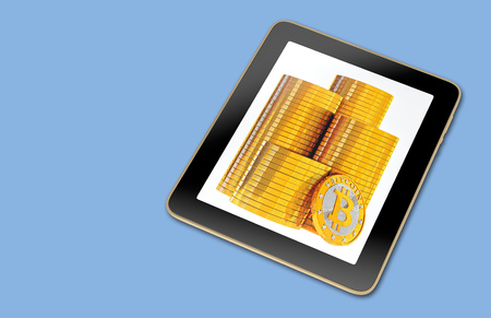 Generic Tablet with stacks of Bitcoins on screen - 3D Rendering Фото со стока