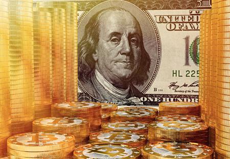 Bitcoins and 100 Dollar Bill - 3D Rendering