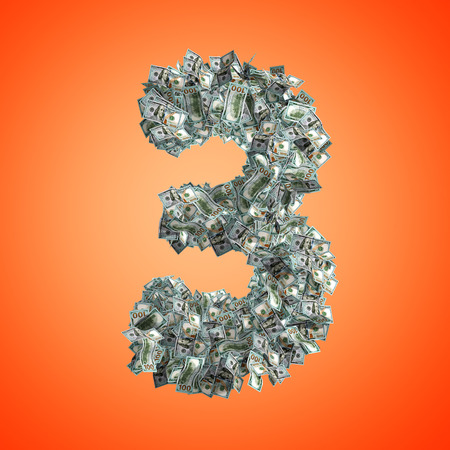 The Number 5 made from new 100 Dollar bills on a orange background - 3D Rendering