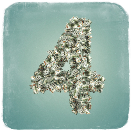 The Number 4 made from new 100 Dollar bills - 3D Rendering