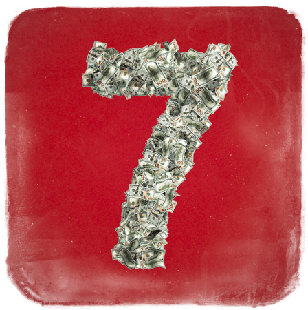 The Number 7 made from new 100 Dollar bills - 3D Rendering Stock Photo