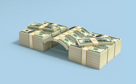 Stacks of 100 Dollar bills - 3D Rendering