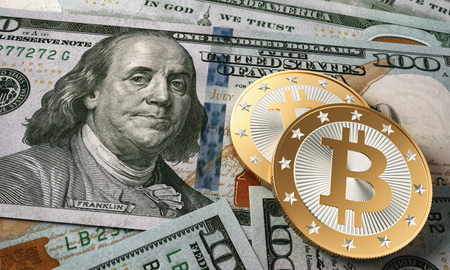 Bitcoin on a 100 Dollar bill - 3D Rendering