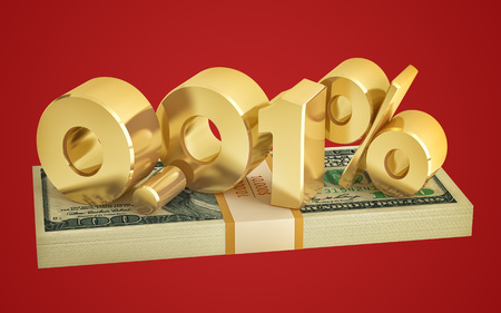0.01% - savings - discount - interest rate - 3D Rendering