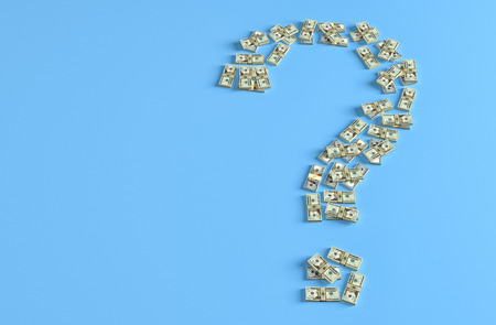 Question mark made from Dollar bills - 3D Rendering