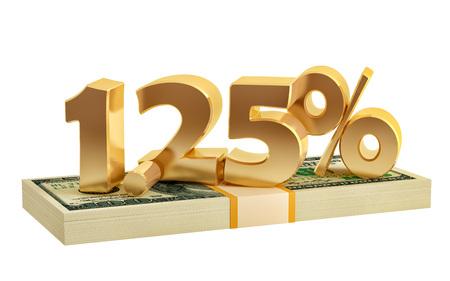 1.25% - savings - discount - interest rate - 3D Rendering 写真素材
