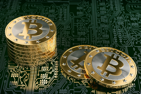 Golden bitcoin on circuit board layout - 3D rendering