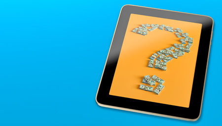 Generic Tablet displaying a question mark made fom Dollar bills - 3d rendering
