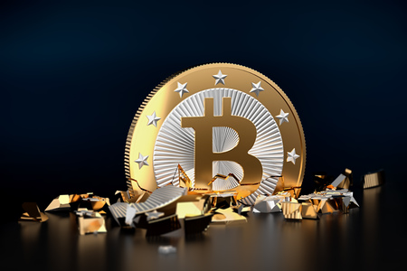 Bitcoin crash, a broken Bitcoin - 3D Rendering 写真素材