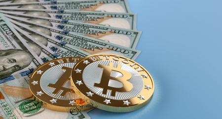 100 dollar banknotes and golden Bitcoins - 3D Rendering 写真素材