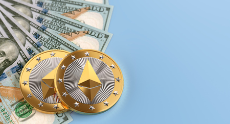 Ethereum Coins and Dollar bills - 3D Rendering