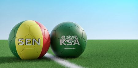 Saudi Arabia vs. Senegal Soccer Match - Soccer balls in Saudi Arabia and Senegal national colors on a soccer field. Copy space on the right side - 3D Rendering