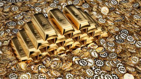 Gold ingots and Bitcoins - 3D Rendering Reklamní fotografie