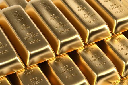 Gold bars background - 3d rendering Reklamní fotografie