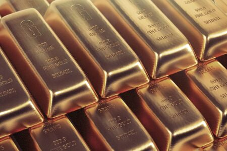 Gold bars background - 3d rendering Stock Photo