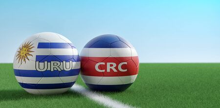 Costa Rica vs. Uruguay Soccer Match - Soccer balls in Costa Rica and Uruguay national colors on a soccer field. Copy space on the right side - 3D Rendering