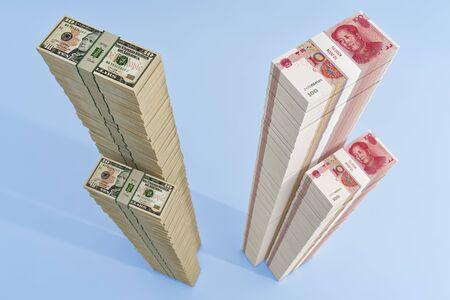 Stacks of chinese 100 Yuan bills and 10 Dollar bills. - 3D Rendering 写真素材