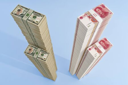 Stacks of chinese 100 Yuan bills and 10 Dollar bills. - 3D Rendering Reklamní fotografie