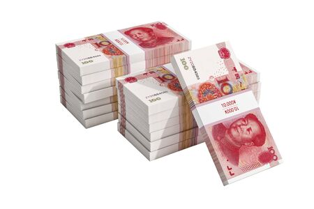 Stacks of chinese 100 Yuan bills isolate on white. - 3D Rendering