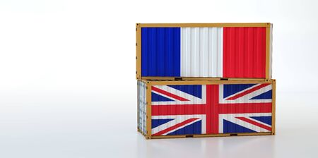 Two freight container with France and United Kingdom flag. Copy space on the left side - 3D Rendering Stockfoto