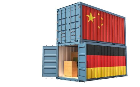 Two freight container with China and Germany flag. Isolated on white - 3D Rendering Archivio Fotografico - 131830437