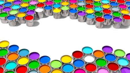 Colorful Paint Buckets - 3D Rendering Imagens