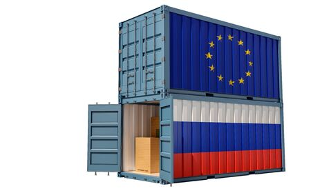 Two freight container with Russia and European Union flag. Isolated on white - 3D Rendering Archivio Fotografico - 131830457