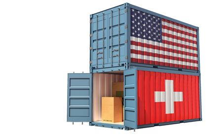 Two freight container with USA and Swiss flag. Isolated on white - 3D Rendering Archivio Fotografico - 131830463